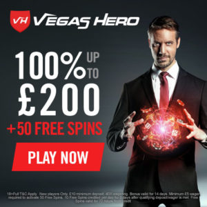 Vegas Hero Casino: £1000 welcome bonus codes + 50 free spins