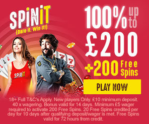 Spinit Casino: 200 free spins bonus sign up offer