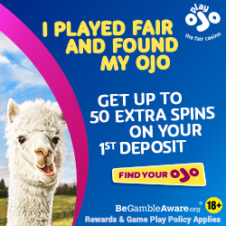 OJO Casino: 50 free spins no wagering