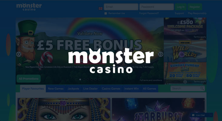 Monster Casino sign up offer: free £5 no deposit bonus