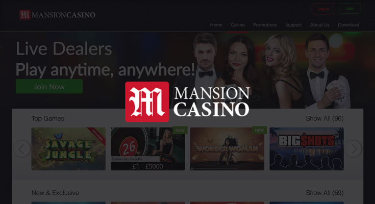 Mansion Casino sign up offer: 100% deposit bonus