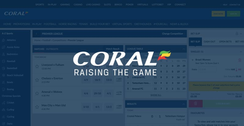 Coral free bet: Bet £5 get £20 in Free Bets