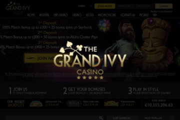 The Grand Ivy Casino sign up offer: £1,500 + 100 bonus spins