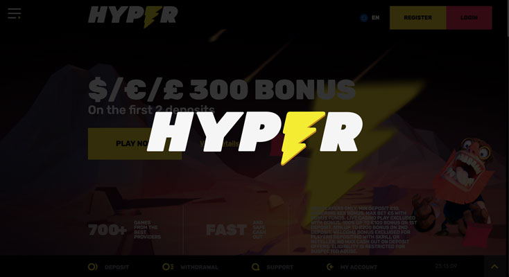 Hyper Casino Sign Up Offer 300 Deposit Bonus Best Free Bet Scout