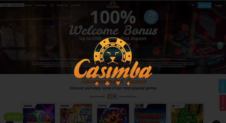 Casimba Casino sign up offer: 100% deposit bonus + 50 free spins
