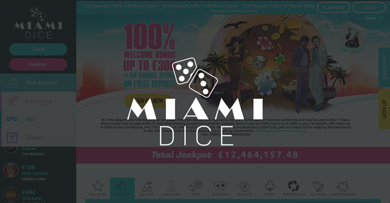 Miami Dice Casino sign up offer: £1300 bonus + 200 bonus spins
