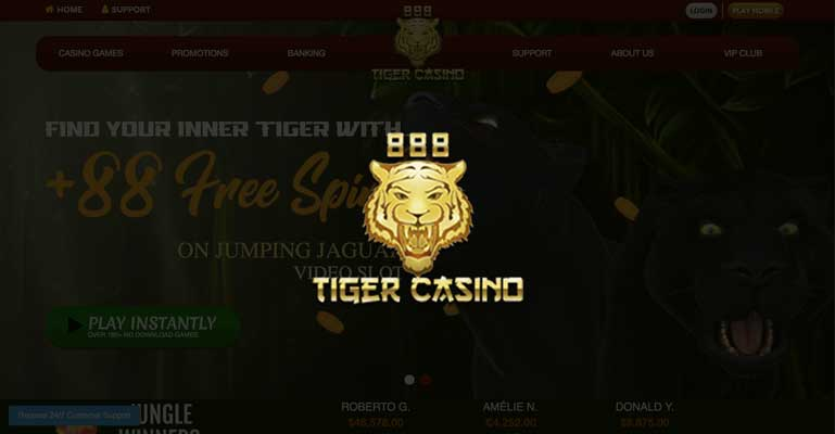 888 Tiger Casino sign up offer: $1000 bonus + 88 free spins