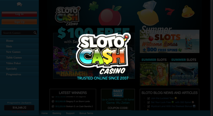 Sloto'Cash Casino sign up offer: $7777 + 300 free spins bonus